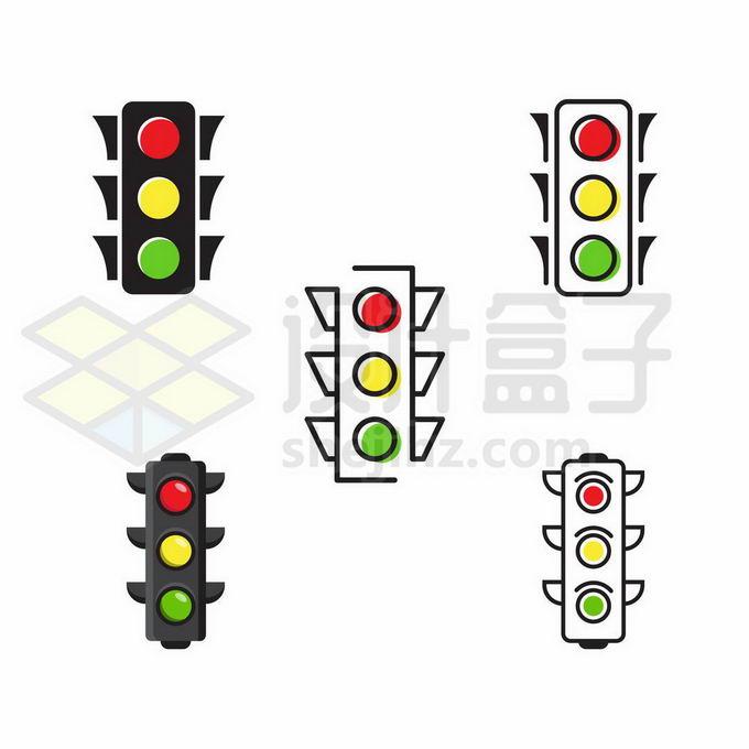 5款扁平化风格红绿灯交通灯4542348矢量图片免抠素材免费下载