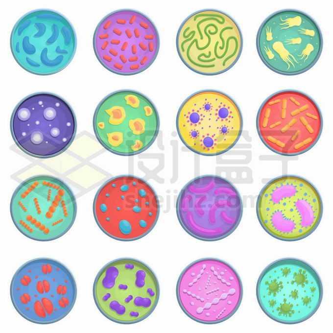 16款彩色培养皿中的霉菌细菌6436641矢量图片免抠素材免费下载