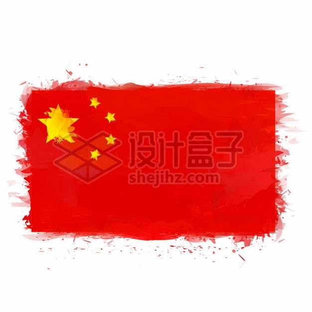 水彩画风格中国国旗五星红旗1616298矢量图片免抠素材