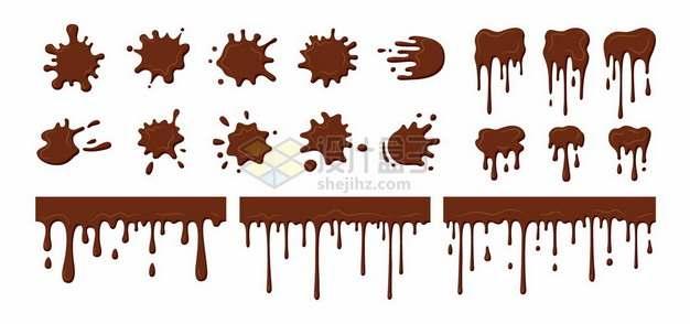 各种咖啡渍污点液体流淌效果4552676矢量图片免抠素材