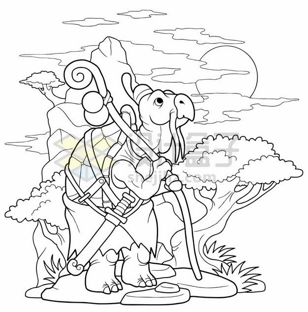 手绘线条龟仙人插画原画7734942矢量图片免抠素材