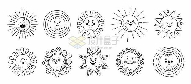 10款线条手绘风格卡通太阳表情包9561795矢量图片免抠素材