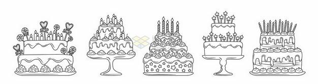 5款线条手绘风格结婚蛋糕生日蛋糕7137612矢量图片免抠素材