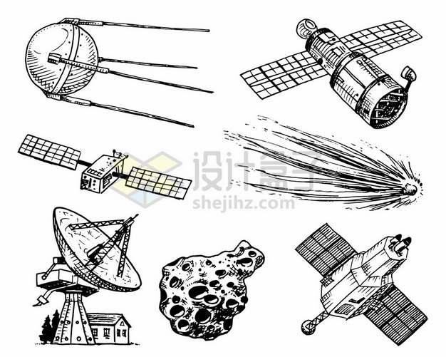 各种人造卫星太空望远镜陨石流星射电望远镜小行星和侦查卫星手绘素描插画1475688矢量图片免抠素材
