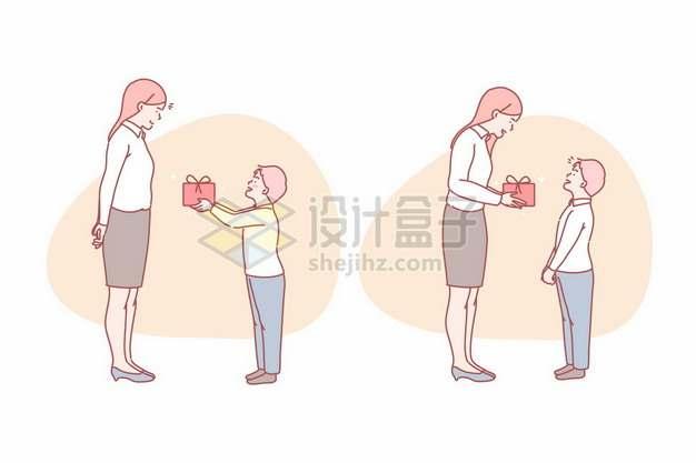 学生给老师送礼物尊师重教教师节手绘线条插画4841323矢量图片免抠素材