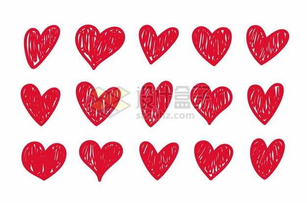 15款红色线条涂鸦风格红心爱心图案9630668矢量图片免抠素材