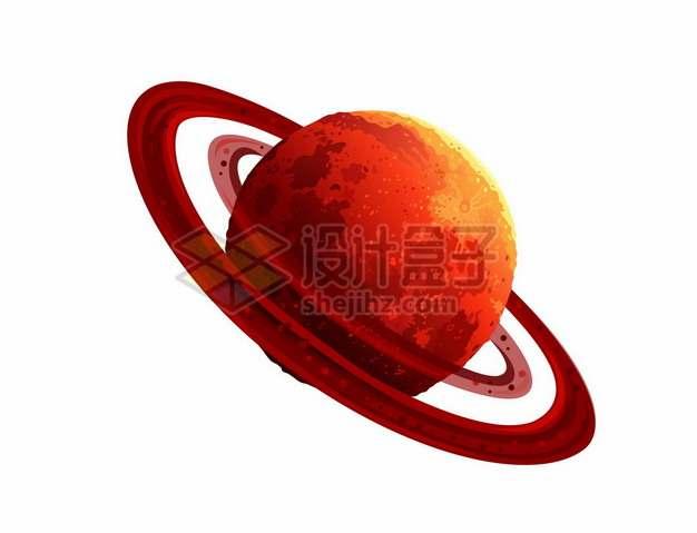 一颗带光环的红色星球水彩插画5118577矢量图片免抠素材