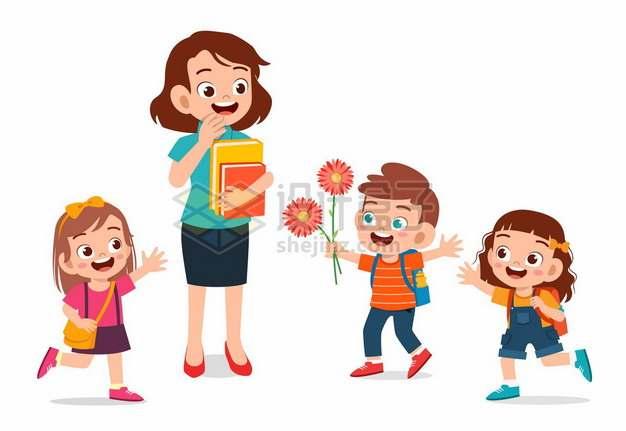 3个卡通小朋友送花给老师教师节2323660矢量图片免抠素材