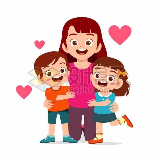 卡通老师拥抱着2个卡通小朋友教师节9518225矢量图片免抠素材