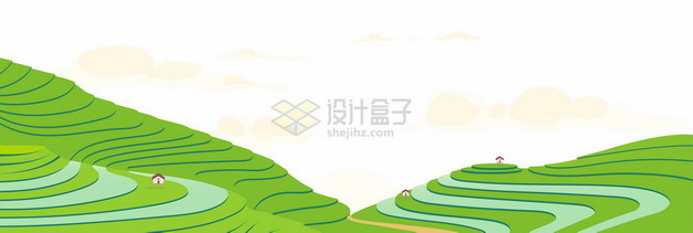 清新风格的中国南方梯田乡村农村风光9596775矢量图片免抠素材
