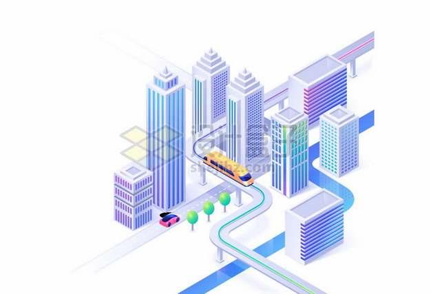 2.5D风格城市高楼大厦和快速路轨道交通8869044矢量图片免抠素材