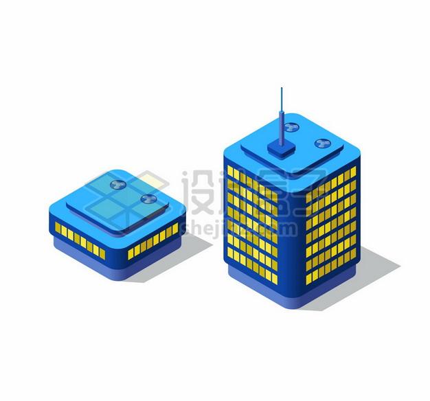 2.5D风格夜晚发光的城市高楼大厦建筑3738562矢量图片免抠素材