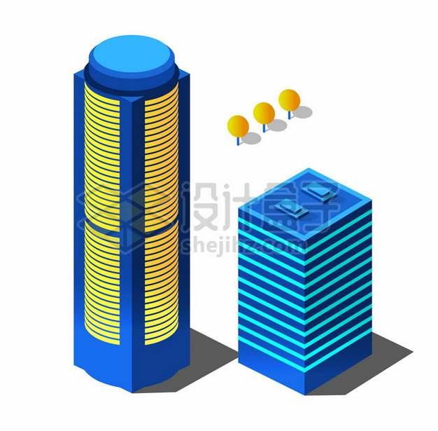 2.5D风格2款造型的夜晚发光的城市高楼大厦写字楼建筑1550752矢量图片免抠素材