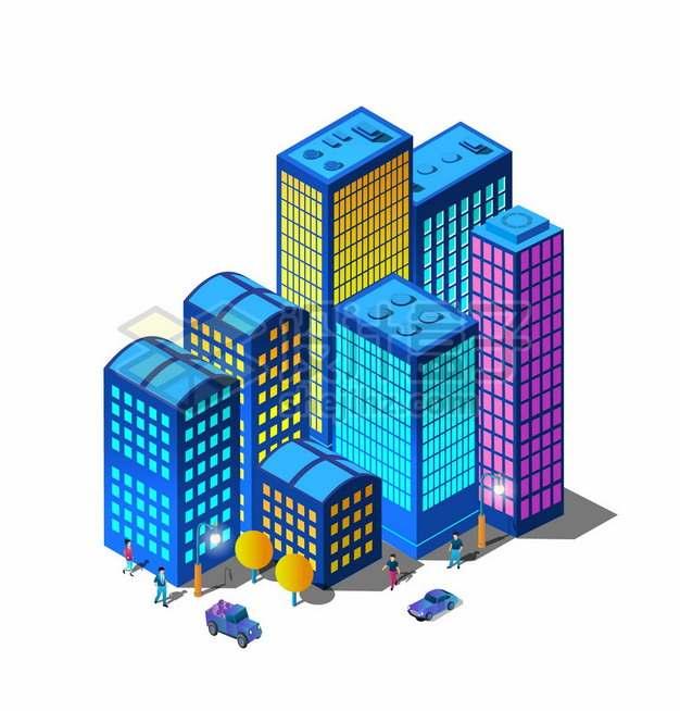 2.5D风格一群夜晚发光的城市高楼大厦建筑群3904152矢量图片免抠素材