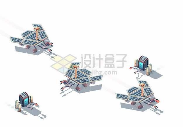 2.5D风格多款火星探测车探索火星7183151矢量图片免抠素材