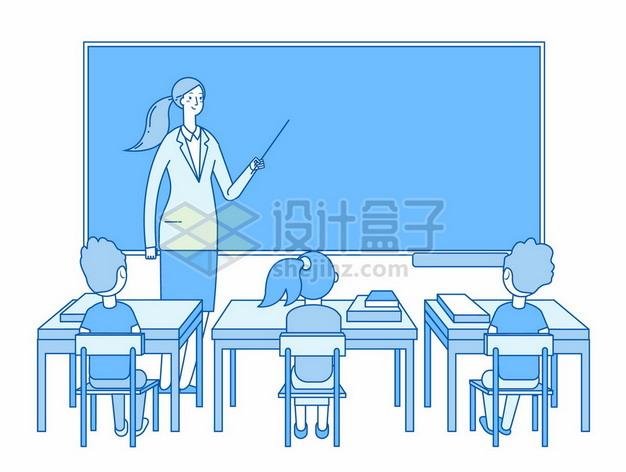 蓝色线条风格卡通老师正在黑板前讲课下面坐了一排认真听讲的学生5138253矢量图片免抠素材