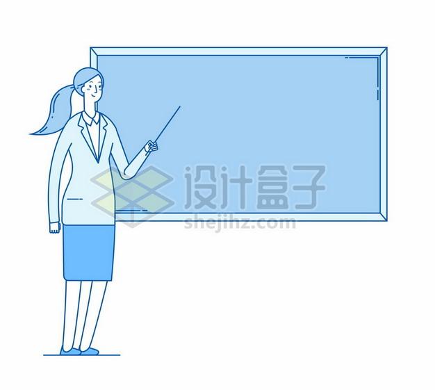 蓝色线条风格卡通老师正在黑板前讲课4368442矢量图片免抠素材