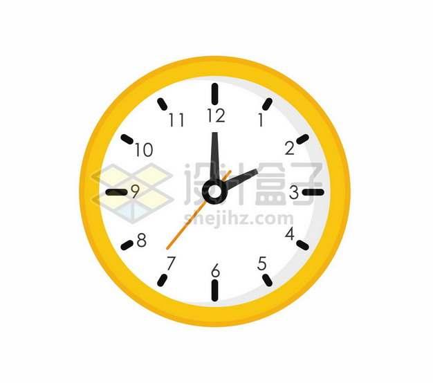 黄色边框的扁平化风格钟表时钟1862652矢量图片免抠素材