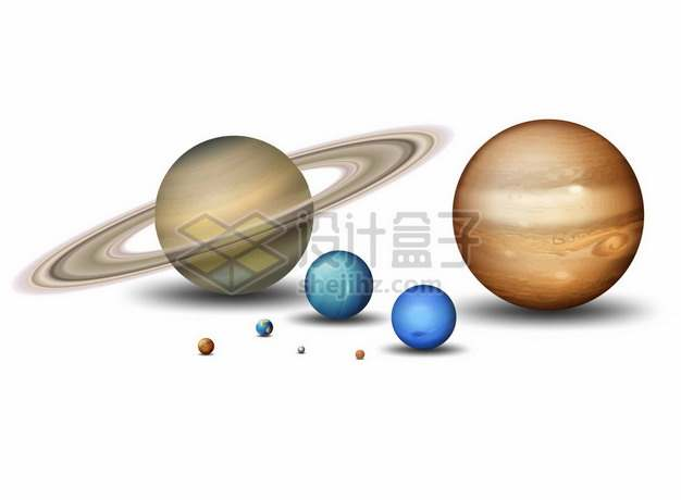 土星木星天王星海王星火星地球金星水星等太阳系八大行星大小对比8587644矢量图片免抠素材