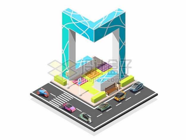 2.5D风格央视大楼北京城市建筑和道路3775664矢量图片免抠素材