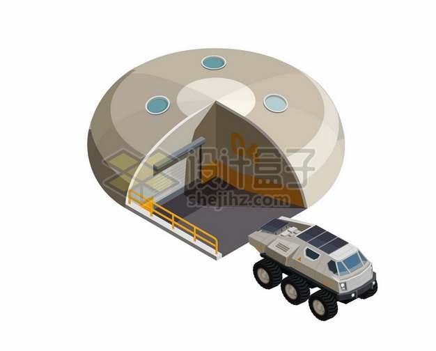 2.5D风格未来的火星基地和一台有人驾驶的火星车7399812矢量图片免抠素材