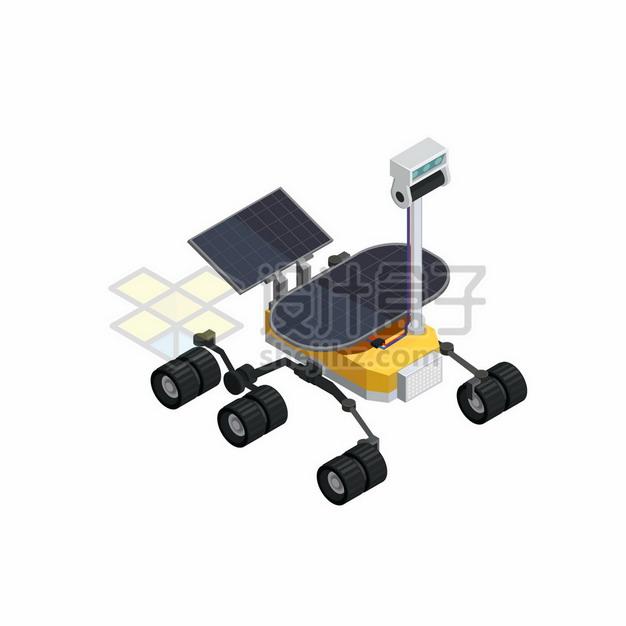 2.5D风格展开太阳能电池板的卡通风格火星车4594435矢量图片免抠素材