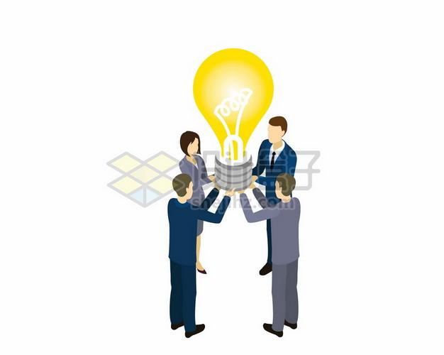 4个商务人士捧着一个黄色电灯泡象征了团队合作激发创意7367304矢量图片免抠素材