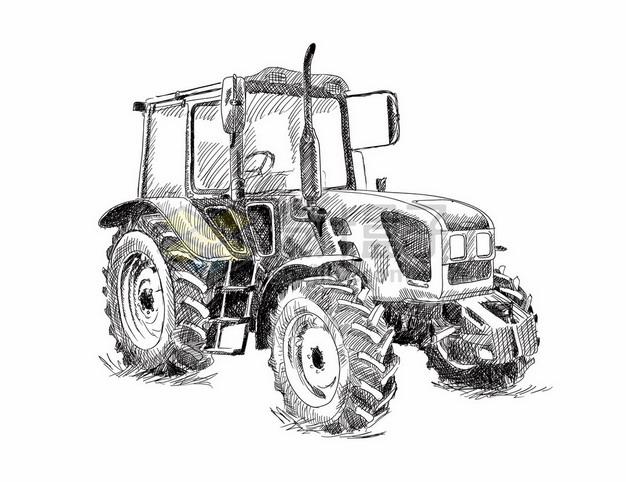 手绘素描风格的农用拖拉机9272626矢量图片免抠素材