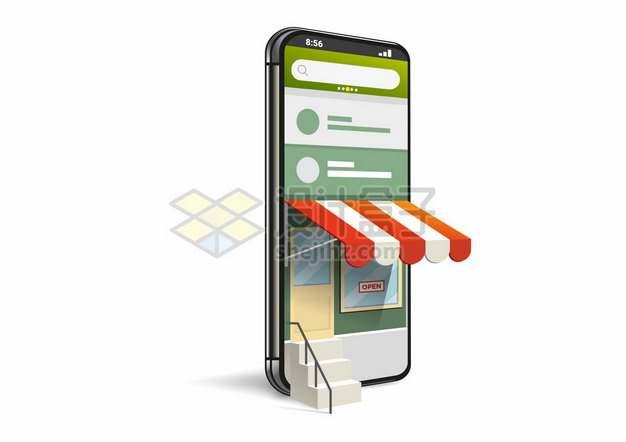 3D风格手机店铺网上开店1519428矢量图片免抠素材