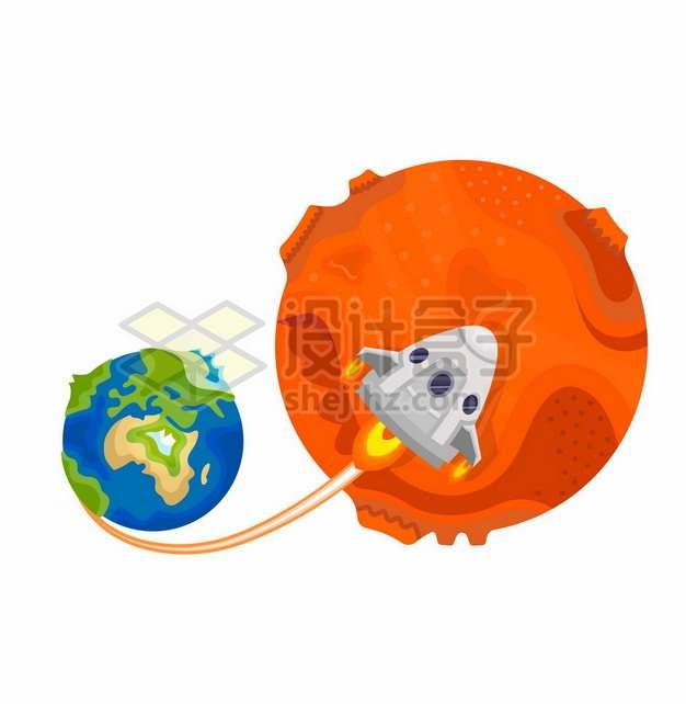 一艘飞船从地球飞往火星象征了火星探测计划7835479矢量图片免抠素材