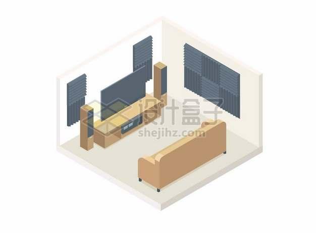 2.5D风格沙发电视机客厅装修墙上贴了消音板2069659矢量图片免抠素材