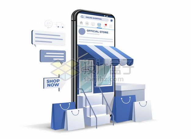 3D风格蓝色的手机店铺网上开店6680683矢量图片免抠素材