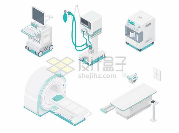 2.5D风格的CT机监护仪血液分析仪X光机等医院高科技医疗机械设备8592543矢量图片免抠素材