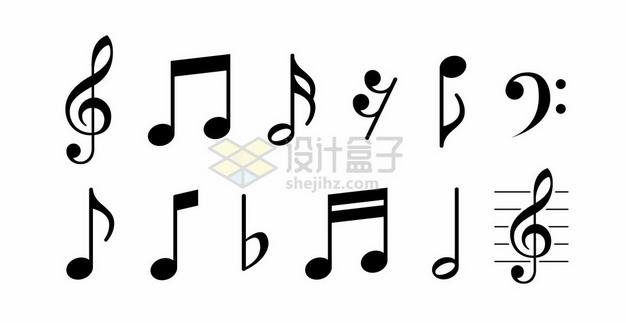 12个黑色的音乐音符图案2296770矢量图片免抠素材