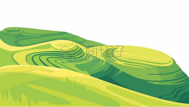 卡通风格高山草甸梯田乡村丘陵地带风景2995147矢量图片免抠素材