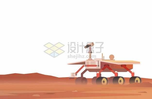 红色火星地面上的卡通祝融号火星车6572708矢量图片免抠素材