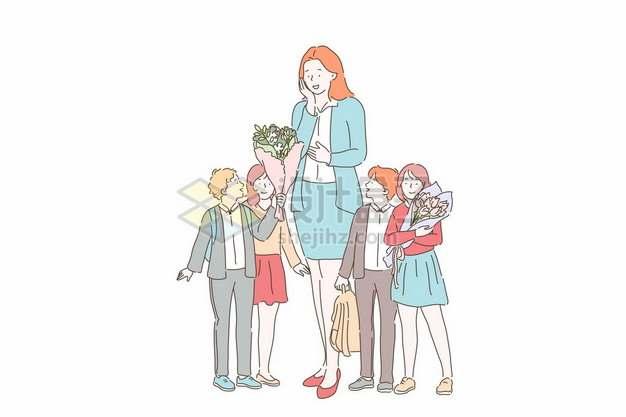 小朋友们给老师送花教师节插画2949100矢量图片免抠素材