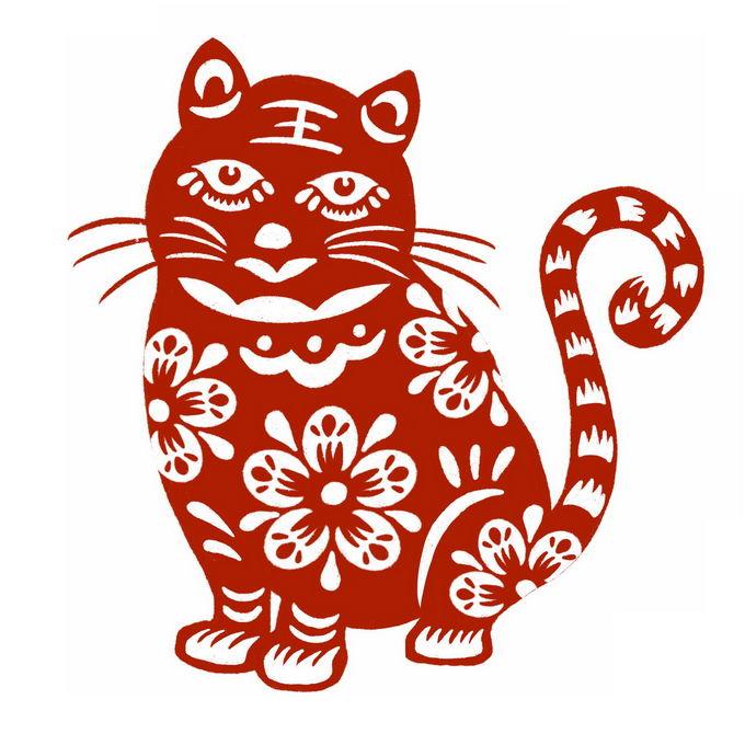 虎年卡通老虎图案新年春节红色剪纸8536064免抠图片素材