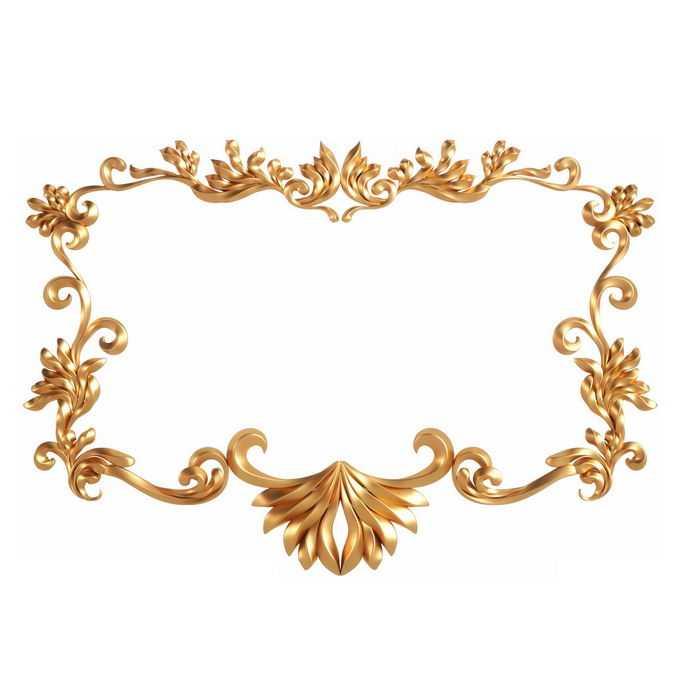 3D立体风格金色欧式图案组成的方形边框装饰6528420免抠图片素材
