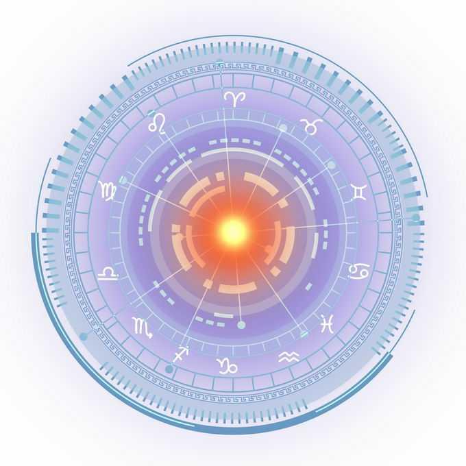 蓝紫色发光效果星盘占星术命运之轮图案3501961免抠图片素材