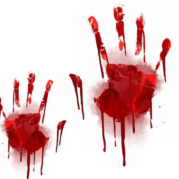 两个血淋淋的血掌印恐怖元素1605004免抠图片素材