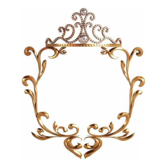3D立体风格金色欧式图案组成的边框装饰3215414免抠图片素材