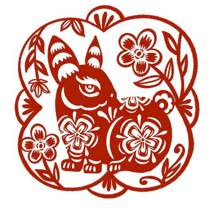 兔年卡通兔子图案新年春节红色剪纸4591119免抠图片素材