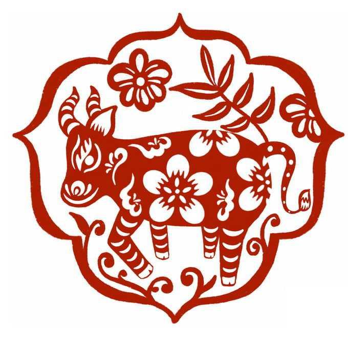 牛年图案新年春节红色剪纸6285000免抠图片素材