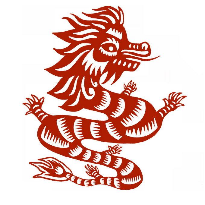 龙年中国龙图案新年春节红色剪纸4703280免抠图片素材