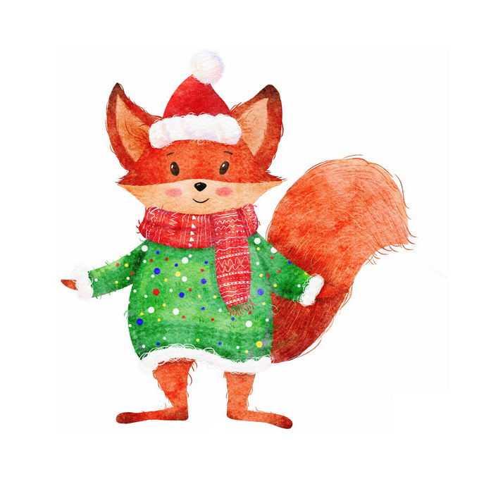冬天穿着毛线衣戴着围巾和帽子的卡通红狐狸2174466免抠图片素材
