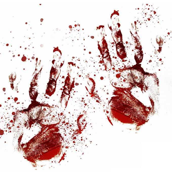 两个血淋淋的血掌印恐怖元素9228948免抠图片素材