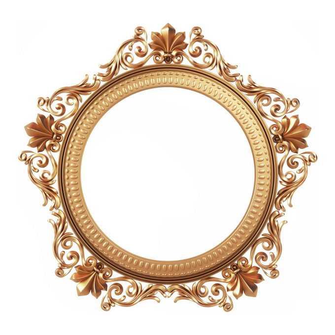 3D立体风格金色欧式图案组成的圆形边框镜框装饰3076139免抠图片素材