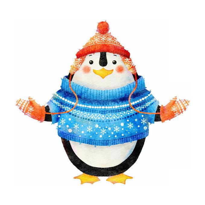 冬天穿着毛线衣戴着帽子和手套的卡通企鹅5315875免抠图片素材