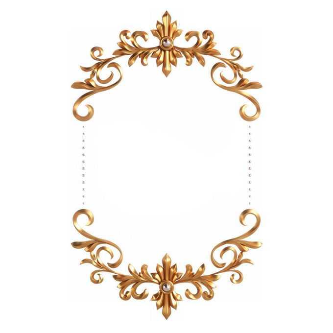 3D立体风格金色欧式图案组成的边框镜框装饰8624289免抠图片素材